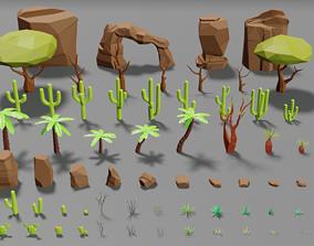 Desert pack lowpoly trees palms cactus rock 3D asset