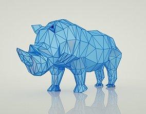 3D model animals low poly rhino