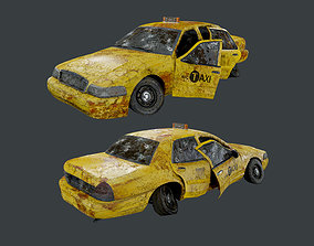 3D asset Vehicle Wrecked Taxi Cab