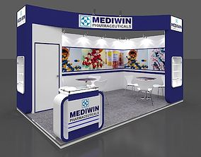 Exhibition stall 3d model 5x3 mtr 2 sides open