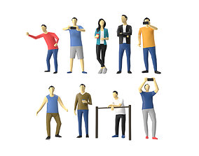 3D asset Colored Low Poly Human 01 - Standing Audience