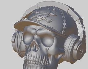 Skull Wearing Headphone and Cap 3D printable model