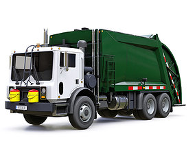 3D asset low-poly Garbage Truck