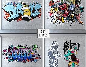 3D model Graffiti - White brick PBR