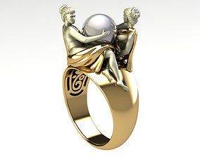 3D printable model ring Angel and pearl