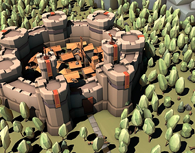 3D asset Low Poly Medieval Constructor