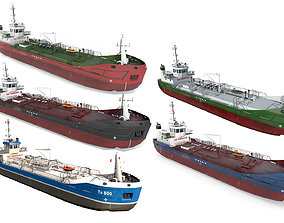 3D model Collection Tankers DWT800 industrial