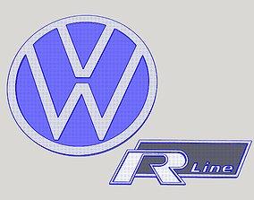3D print model VW Volkswagen R Line Logo