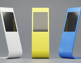 low-poly Sample Model of terminal information kiosk with