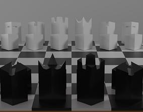 Modern minimalist chess set 3D model