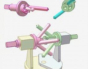Pin universal joint mechanism 3D