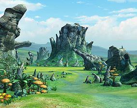 3D Cartoon Valley Scene 02