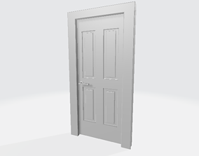 3D Simple Door open and closed