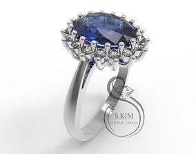 3D print model Princess Dianna wedding ring oval gem 9x7mm