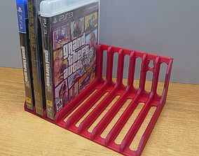 Game disk and DVD storage rack 3D print model