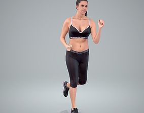 3D Sporty Woman Running with Black Sports Bra 1
