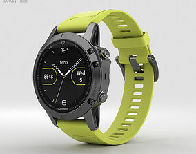Garmin Fenix 5 Slate Gray with Amp Yellow Band 3D