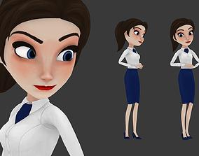 Cartoon girl woman 3D model rigged