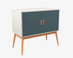 3D model Retro Style Wooden Storage Sideboard