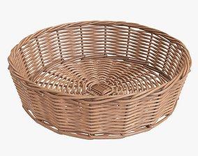 Wicker basket round light brown 3D model