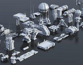 3D model Scifi building dressing kitbash pack