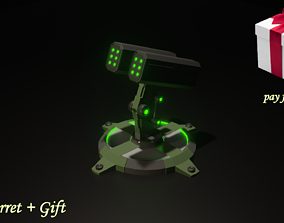 low-poly turret 3d halloween speacial with gift