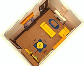 Cartoon Living Room Middle-Class 3D