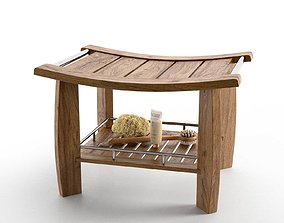 3D model Spa Teak Shower Bench with Shelf