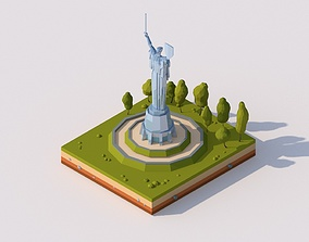 Cartoon Lowpoly Motherland Monument 3D asset