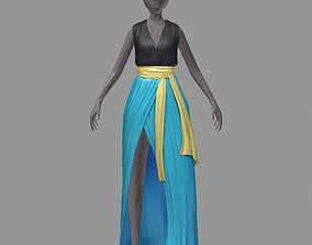 women summer long skyblue dress white high heel 3D asset 1