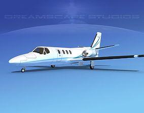 Cessna 500 Citation I V02 3D model rigged