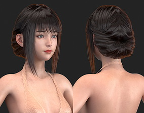 3D model High-quality Realism polygon hair 02