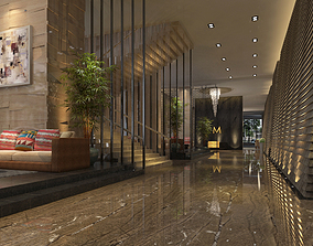 3D model Five Star Urban Resort Hotel Hallway or Corridor
