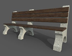park bench with 2 pbr texture sets seating 3D asset