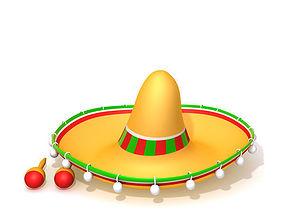 3D model Hat Sombrero And Maracas