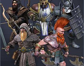 3D asset animated Dwarves Warriors