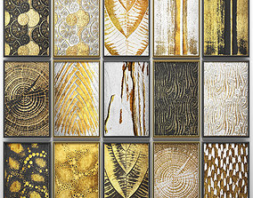 Collection of paintings with gold for walls 7 3D model