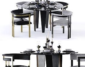 3D Kelly Wearstler Grafton Table and Elliot Chair