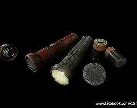3D asset Old Flashlight - PBR Game Ready