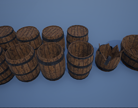 3D asset Wooden Barrels and Bathtub-bowl