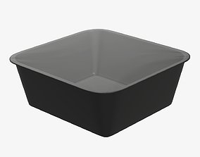 3D Plastic food container tray box with foil mockup 04
