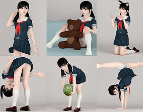 3D model 6 poses of Manami