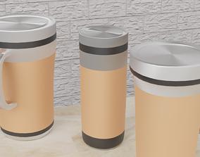 Tumbler color brown 3 different design 3D asset