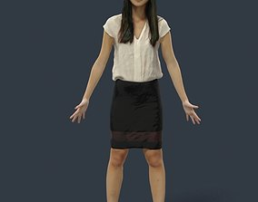 Animated Business Woman Asian - A-pose - Pla 3D asset