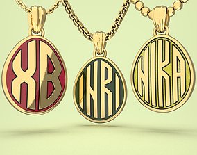 3D print model Egg pendants with INRI NIKA and XB letters