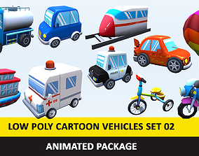 Animated Toy Cartoon Cute Vehicles Low Poly 3D asset 5