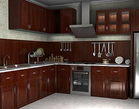 wooden kitchen 3D asset