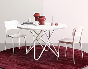 Calligaris Liberty chair and Stellar table set 3D model