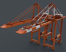3D asset PBR Quayside Container Crane V2 - Orange