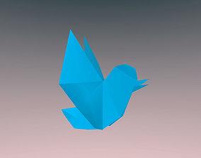 3D model FREE Origami TWITTER BIRD No Conversion pls
